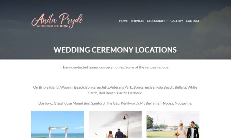 Bribie Island Celebrant 3 Bribie Island Web Design