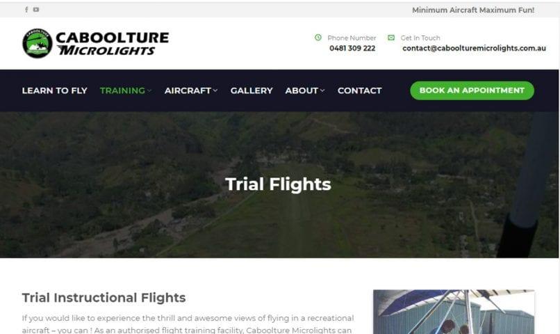 Caboolture Microlights 5 Bribie Island Web Design