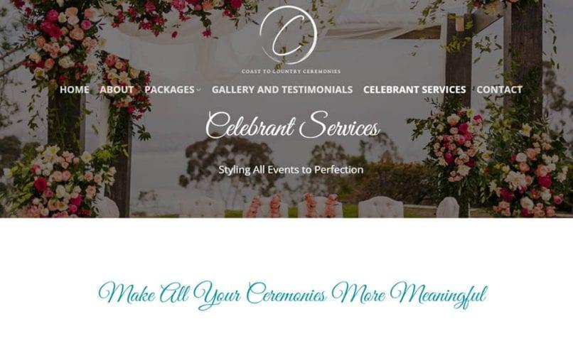 Coast to Country Ceremonies 7 Bribie Island Web Design